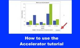 """Screenshot o Accelerator bar chart with arrow pointing to the Accelerator button & text, """"How to use the Accelerator tutorial."""""""