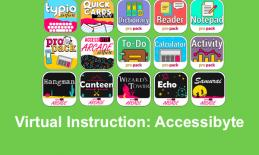 "photo with 15 Accessibyte game icons and text, ""Virtual Instruction: Accessibyte"""