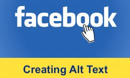 """Image of a hand cursor selecting the text, """"Facebook"""" and additional text, """"Creating Alt Text"""""""