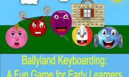 "Image of Ballyland characters and text, ""Ballyland Keyboarding: A Fun Game for Early Learners""."