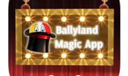 """Ballyland app logo:  image of a ball peaking out of a magic hat and text, """"Ballyland Magic app"""""""