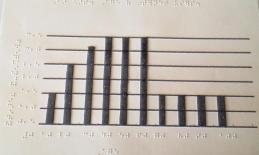 tactile bar graph with several bars reaching the top of the graph in the middle of the data set