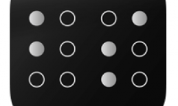"""Logo: Black background with white""""bs"""" in braille."""
