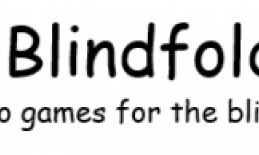 """Blindfold Games banner with text, """"Blindfold Games, audio games for the blindness community"""""""