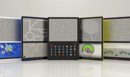 5 Blitab tablets each displaying a braille screen; sharing screen, road map, Android Home, brain image & braille screen input.
