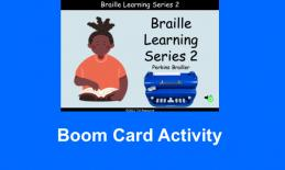 """Cartoon person with hands on a braille book beside a Perkins Brailler with text, """"Braille Learning Series 2, Perkins Brailler."""""""
