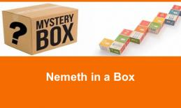 """Mystery Box and math cubes with text, """"Nemeth in a Box."""""""