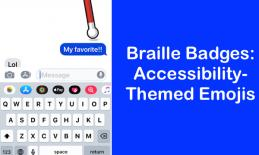 "Screenshot of iPhone Messages app with animated cane and text, ""Braille Badges: Accessibility-themed emojis"""