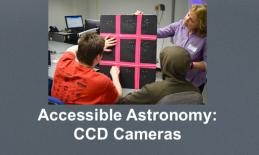 "An astronomer with 2 high school students exploring a tactile model of light captured by a CCD Camera. ""Accessible Astronomy"""