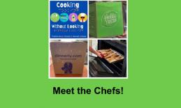 Photo collage of Cooking Without Looking logo, Hello Fresh bag, Dinnerly bag & tray of food being pulled out of the oven