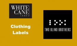 """Image with White Cane Label and Two Blind Brothers logos and text, """"Clothing Labels"""""""