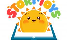 "Story Toys Logo: Open book with smiling Sun rising from book and the text, ""Story Toys"" above."