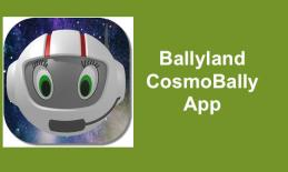 Ballyland CosmoBally App logo:  Ballylander with astronaut helmet in space.