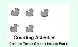 """Image of 5 solid ducks and text, """"Counting Activities. Creating Tactile Graphic Images Part 6"""""""