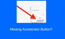 """Image of visual Google map with annotated arrow pointing to the Accelerate button and text, """"Missing Accelerator button?"""""""