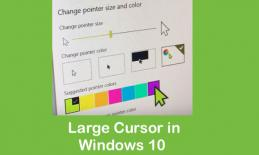"Screenshot of Windows 10 showing ""Change Pointer size and color"" settings with a large lime green pointer."