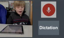"""Photo of Aeden dictating on his iPad, image of dictation symbol and text, """"Dictation"""""""