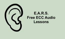 """Image of ear silhouette and text, """"E.A.R.S. Free ECC Audio Lessons"""""""