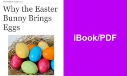 "Book cover with colorful Easter eggs and title, "" Why the Easter Bunny Brings Eggs"" and text, ""iBook/PDF""."