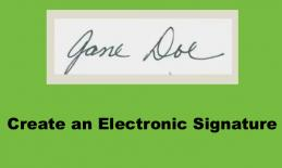 """image of handwritten """"Jane Doe"""" and text, """"Create an electronic signature"""""""