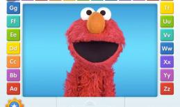 Screenshot of Elmo Loves ABCs: Elmo is in the center with ABC letters around the edge of the screen.