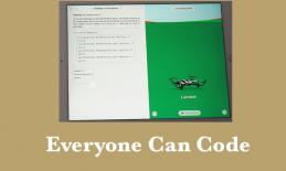 "Screenshot of Swift Playground running drone code and text, ""Everyone can Code""."