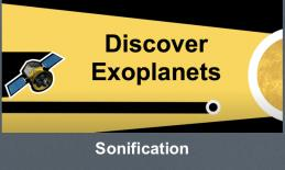 "Graphic with a space telescope, exoplanet and star. The exoplanet is blocking the starlight. Text, ""Discover Exoplanets"""