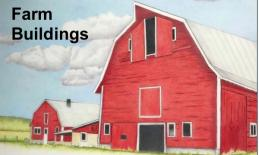 """Image of a 3-story red barn and text, """"Farm Buildings"""""""