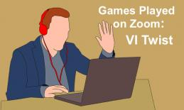 "Cartoon man with raised hand looking at computer at text, ""Games Played on Zoom: VI Twist"""