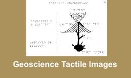 "Image of a magmatic environments (active volcano) with text, ""Geoscience Tactile Images"""