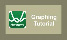 """Desmos logo and text, """"Graphing tutorial"""""""