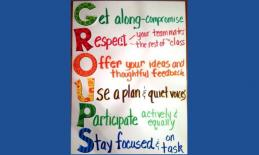 GROUP poster: Get along, Respect, Offer your ideas, Use a plan, Participate,Stay focused.