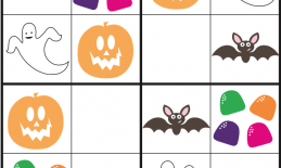 Halloween Sudoku puzzle with pictures of Pumpkins, Candy, Ghosts, and Bats.