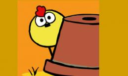 Hide and Peep logo: Cartoon yellow chick peeping behind an overturned pot.