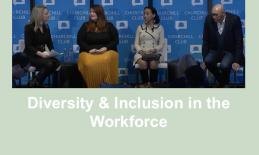 """photo of 4 member panel and text, """"Diversity & Inclusion in the Workforce"""""""