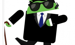 Image of Android robot (logo) holding a long cane and wearing dark glasses.