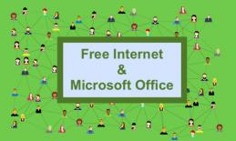 """Text, """"Free Internet & Microsoft Office""""; background of numerous people connected by dotted lines."""