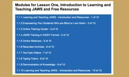 "Screenshot Graphic: Listing the 10 modules for ""Lesson One, Introduction to Learning and Teaching JAWS and Free Resources"""