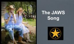 The Spinrockers, Devin and Mary dressed in western wear sitting on a bench holding their canes singing The JAWS song, TSBVI logo