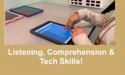"7 Year old making two-finger double tap gesture on Kids Listen podcast app. Text, ""Listening, Comprehension & Tech Skills"""
