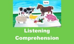 """Screenshot of Hungry Caterpillar app Farm page with text, """"Listening Comprehension"""""""