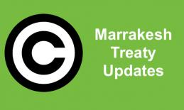 "Image of copyright symbol and text, ""Marrakesh Treaty Updates"""