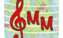 """App logo: red treble clef and """"MM""""."""