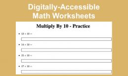 """Screenshot of Multiply by 10 practice worksheet and text, """"Digitally-Accessible Math Worksheets"""""""