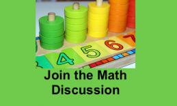 "Math manipulatives (counting discs and numbers) and text, ""Join the Math Discussion"""