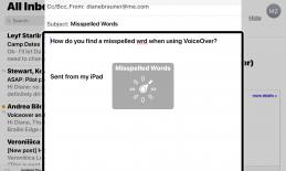 Screenshot of Mail message with the virtual rotor on Misspelled Words: text has misspelled word that has red underline.