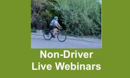 """Photo of Dr. Rosenblum on a bike with text, """"Non-Driver Live Webinars"""""""