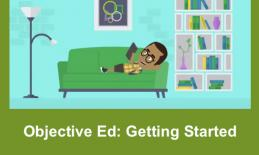 Cartoon image of smiling boy laying a couch at home holding an iPad.