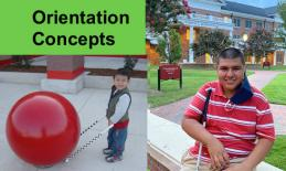 Image of 3 year old Victor with procane by large red cement Target ball and Victor college freshman sitting on campus.