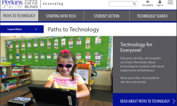 Screenshot of Paths to Technology home screen; includes picture of 4 year old girl using an iPad sitting at a classroom desk.